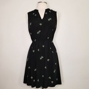 OLD NAVY BLACK FLORAL PRINT CHINESE COLLAR NECK